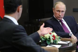 Президент Сирии Башар Асад во время встречи с президентом России Владимиром Путиным в Сочи, 20 ноября 2017 года