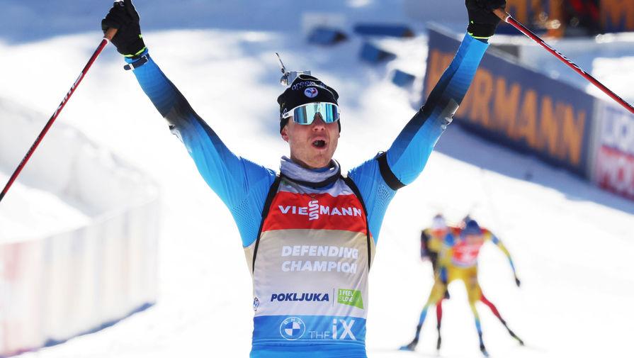 Французский биатлонист Эмильен Жаклен на чемпионате мира — 2021 в Поклюке