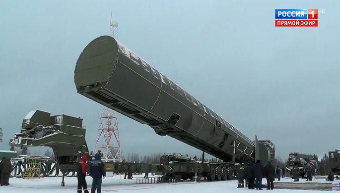 Кадр из презентации ракетного комплекса «Сармат» во время послания президента России Владимира Путина к Федеральному собранию в Москве, 1 марта 2018 года
