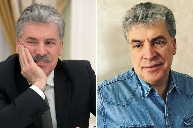 Павел Грудинин с усами (слева) и без усов (справа)