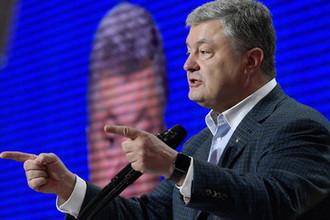 Бывший президент Украины, лидер партии «Европейская солидарность» Петр Порошенко выступает на съезде партии «Европейская солидарность» в Киеве, 31 мая 2019 года