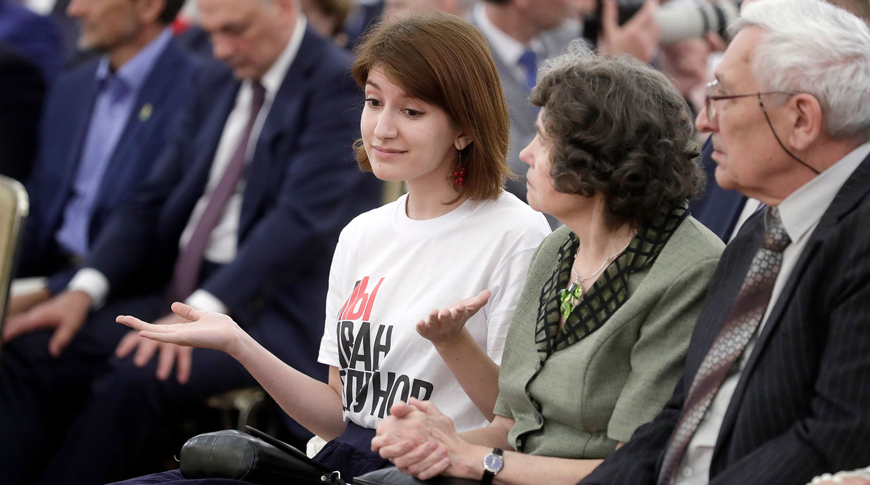 На прием к Путину в Кремль пришла девушка в футболке «Я/Мы Иван Голунов»