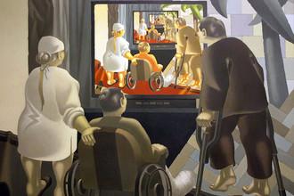 Картина Владимира Овчинникова «У телевизора», 2000 год