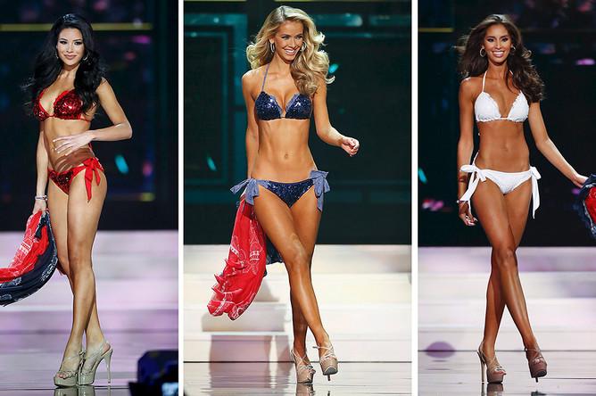 Мисс Техас, мисс Оклахома и мисс Род-Айленд во время финала конкурса «Мисс США»
