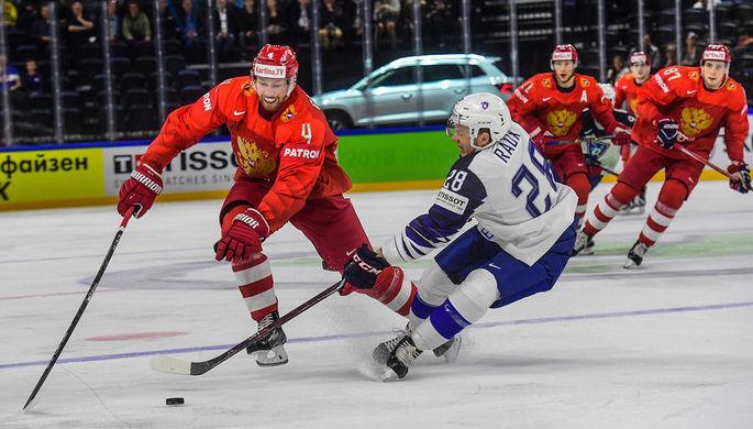 Во время хоккейного матча между сборными командами России и Франции в Копенгагене, 4 мая 2018 года
