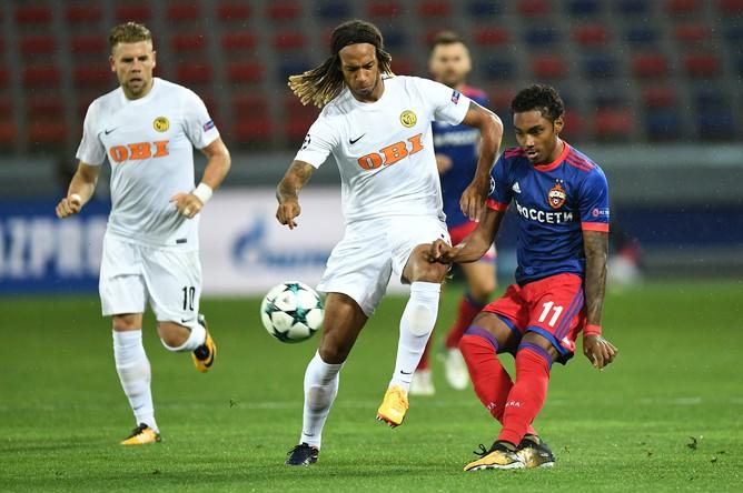 Нападающий ЦСКА Витиньо в матче Лиги Европы против швейцарского «Янг Бойз»