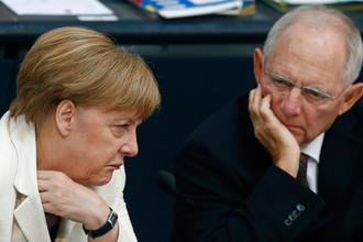 Канцлер Германии Ангела Меркель и министр финансов Вольфганг Шойбле