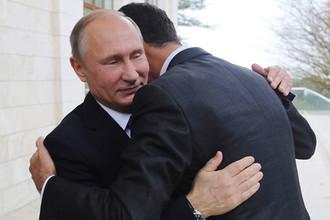 Президент России Владимир Путин и президент Сирии Башар Асад во время встречи в Сочи, 20 ноября 2017 года