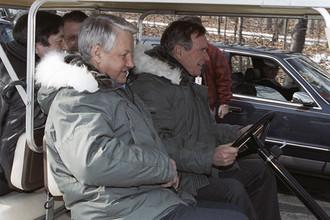 Президент России Борис Ельцин и президент США Джордж Буш в резиденции Кэмп-Дэвид, 1992 год