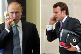 Президент России Владимир Путин и президент Франции Эммануэль Макрон, коллаж
