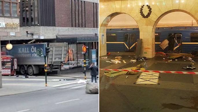 Центр Стокгольма 7 апреля 2017 года (слева) и станция метро «Технологический институт» в Санкт-Петербурге после взрыва в вагоне поезда 3 апреля 2017 года (справа)
