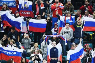 Болельщики на трибуне во время хоккейного матча Россия-Словения на Олимпиаде в Пхенчхане, 16 февраля 2018 года