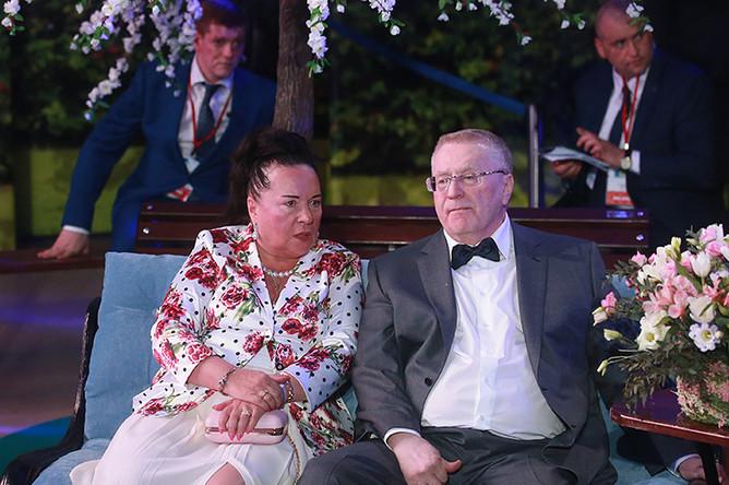 Лидер ЛДПР Владимир Жириновский с супругой Галиной Лебедевой во время празднования его 70-летия