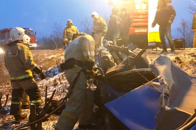 Последствия ДТП на трассе Симферополь – Джанкой в Крыму, 26 января 2017 года