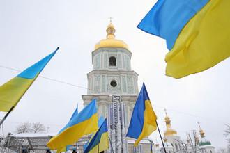 Во время на «объединительного собора» на Софийской площади в Киеве, декабрь 2018 года