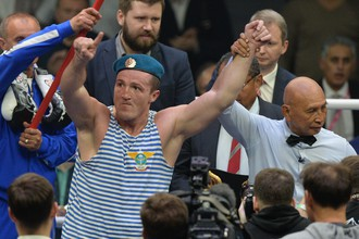 Денис Лебедев после победы над Марком Флэнэганом