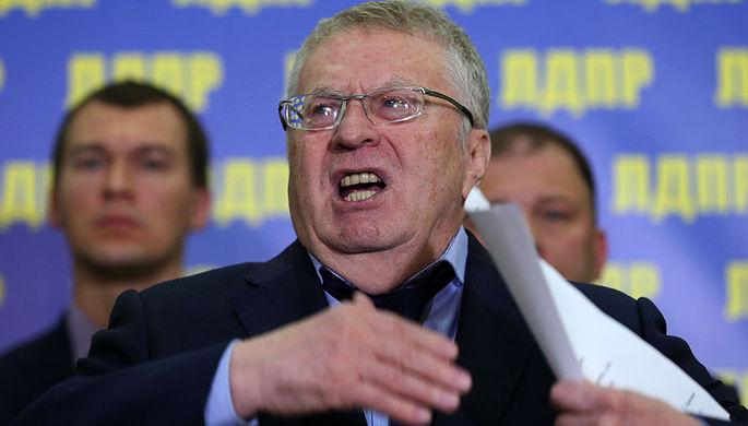Лидер ЛДПР Владимир Жириновский во время брифинга в штабе партии