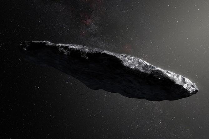 Астероид Оумуамуа, художественная визуализация