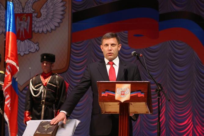 Новый глава Донецкой народной республики Александр Захарченко на церемонии инаугурации в здании драмтеатра