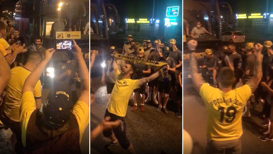 Болельщики встречают автобус с командой ФК «Ростов» после матча