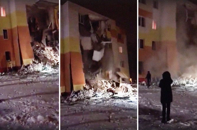 Обрушение дома в поселке Яковлево под Белгородом, 3 декабря 2019 года. Кадры из видео