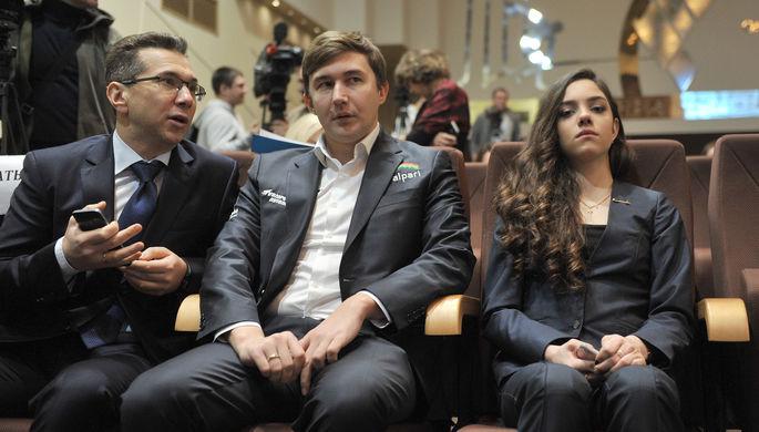 Сергей Карякин и фигуристка Евгения Медведева на церемонии вручения премии «Серебряная лань»