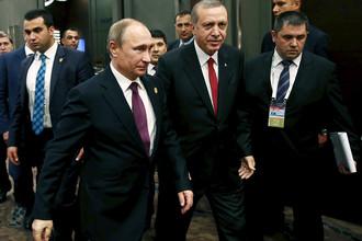 Президенты России и Турции Владимир Путин и Реджеп Тайип Эрдоган на саммите G20