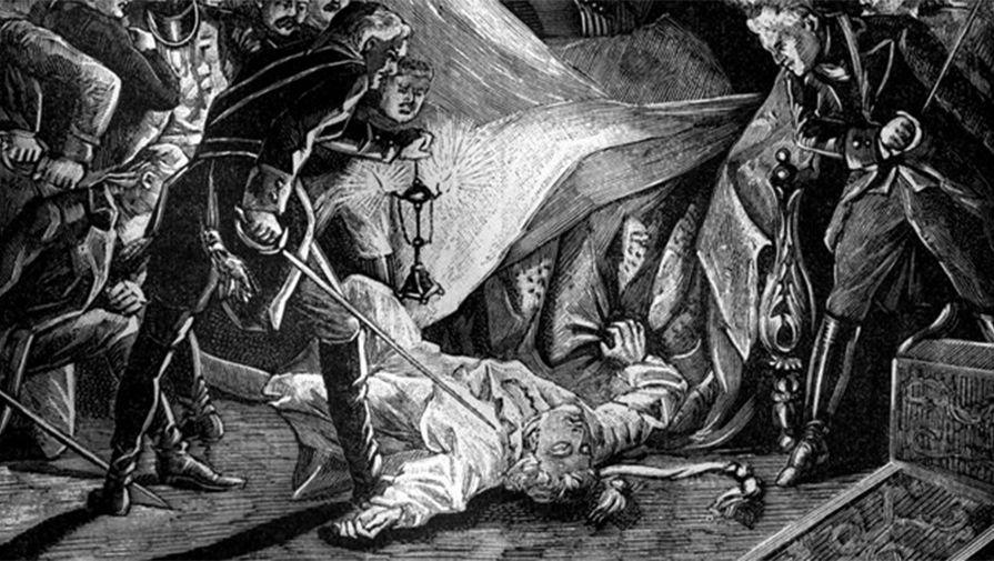 Убийство императора Павла I, гравюра из французской исторической книги, 1880-е годы
