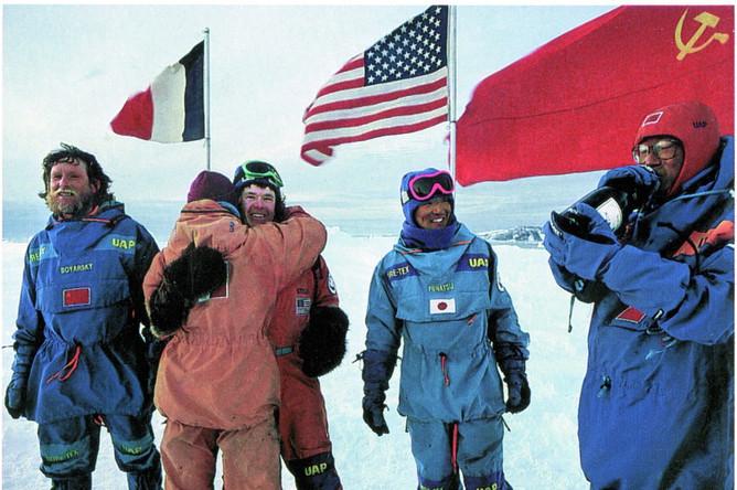 Финиш Трансантарктической экспедиции (крайний слева — Виктор Боярский)