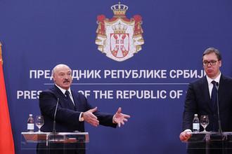 Президент Белоруссии Александр Лукашенко и президент Александр Вучич во время пресс-конференции в Белграде, 3 декабря 2019 года