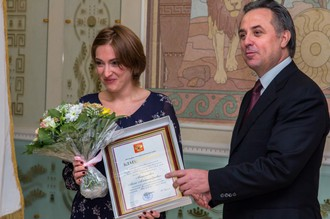 Виталий Мутко и действующая глава РУСАДА Анна Анцелиович