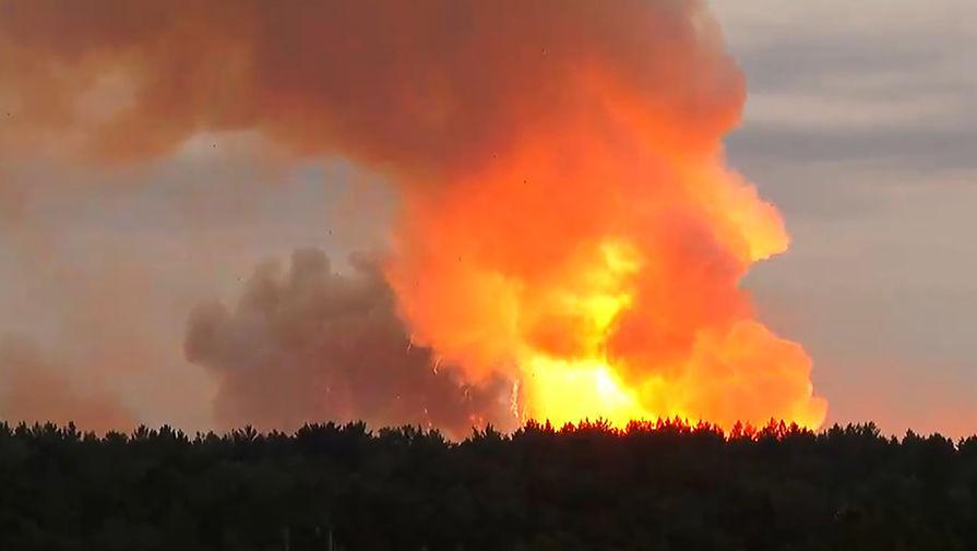 Пожар в хранилище пороховых зарядов к артиллерийским боеприпасам на территории одного из складов Центра материально-технического обеспечения Центрального военного округа в Ачинском районе, 5 августа 2019 года