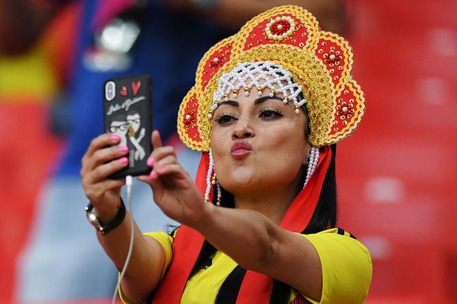 Во время матча 1/8 финала чемпионата мира по футболу между сборными Колумбии и Англии, 3 июля 2018 года