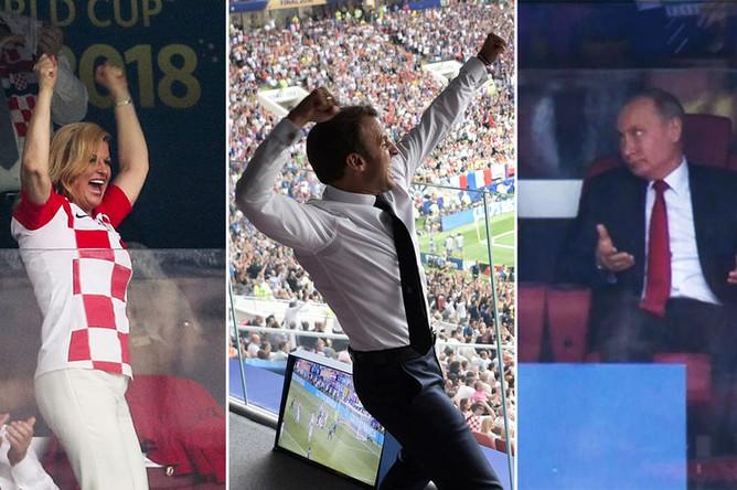 Президент Хорватии Колинда Грабар-Китарович, президент Франции Эммануэль Макрон и президент России Владимир Путин (коллаж)