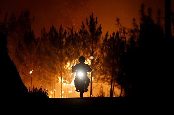 Пожарный на мотоцикле во время лесного пожара около города Каштелу-Бранку в Португалии, июль 2017 года
