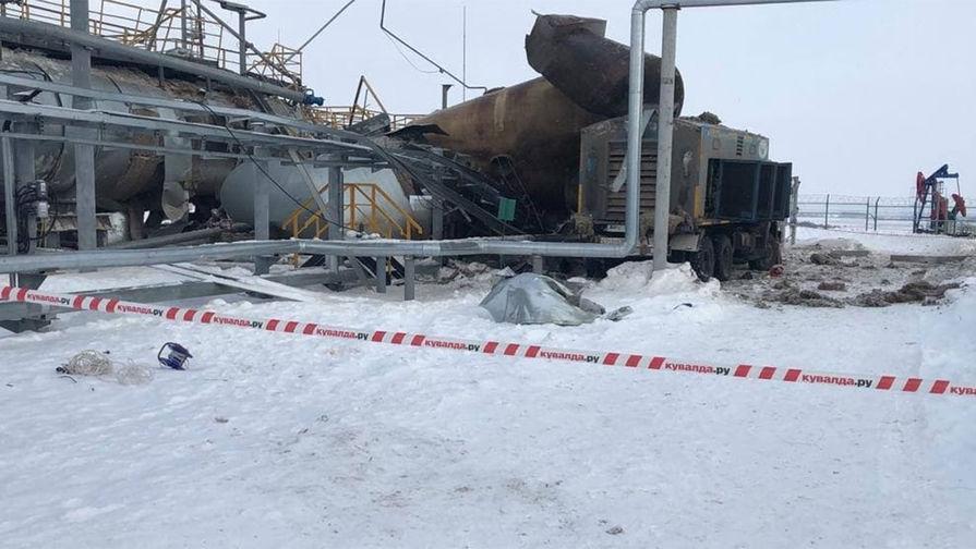 Кадр с места взрыва на нефтяном предприятии в Татарстане