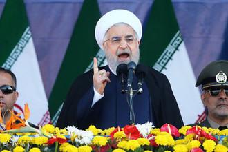 Президент Ирана Хасан Рухани на военном параде в Ахвазе, Иран, 22 сентября 2018 года