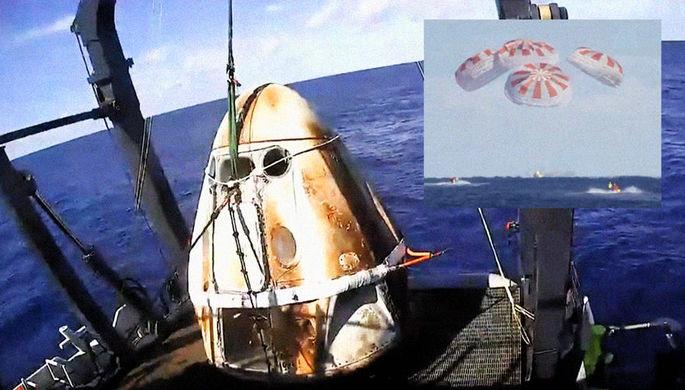 Космический корабль Crew Dragon компании SpaceX Илона Маска после полета к МКС и успешного приводнения в Атлантическом океане, 8 марта 2019 года