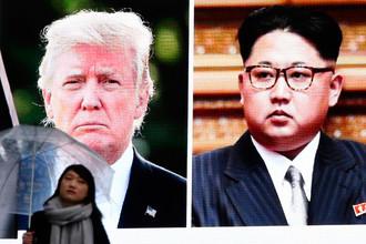Изображение президента США Дональда Трампа и высшего руководителя КНДР Ким Чен Ына на экране в Токио, 9 марта 2018 года