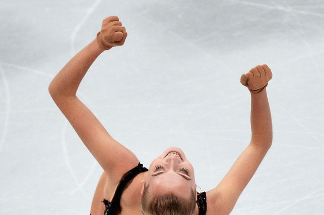 Елена Радионова в произвольной программе женского одиночного катания на чемпионате Европы по фигурному катанию в Братиславе