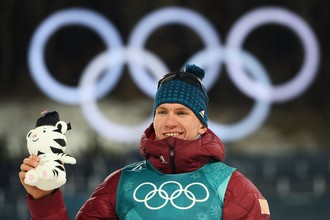 Александр Большунов, обладатель бронзовой медали в лыжном спринте