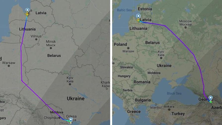 Рейсы авиакомпании AirBaltic (Рига-Одесса и Рига-Тбилиси) облетают Беларусь (коллаж)