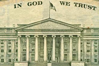 Здание Казначейства США на десятидолларовой банкноте