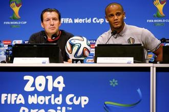 Бельгийцы Марк Вильмотс и Венсан Компани на предматчевой пресс-конференции