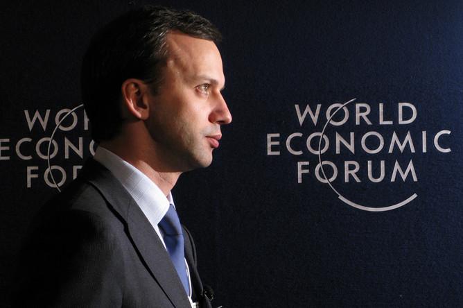 Начальник экспертного управления президента России Аркадий Дворкович во время Всемирного экономического форума в Давосе, 2009 год