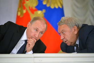 Президент РФ Владимир Путин и президент РАН Владимир Фортов