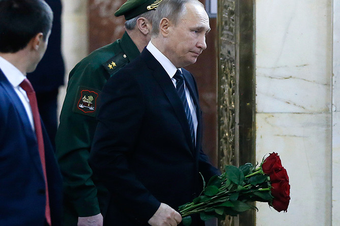 Президент России Владимир Путин на церемонии прощания с послом Андреем Карловым в здании МИДа на Смоленской площади, 22 декабря 2016 года