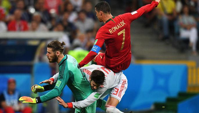Во время матча между сборными Португалии и Испании на Чемпионате мира по футбола в Сочи, 15 июня 2018 года