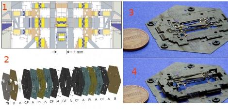 Многослойная «раскладушка» с отпечатанным послойно чертежом позволяет поставить на поток производство микророботов (микродрона) без использования ручного труда: чертеж (1), многослойный импринтинг (2), 2D-заготовка (3), готовый микродрон (4) . //
