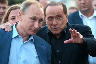 Владимир Путин и Сильвио Берлускони в Крыму 13 сентября 2015 года